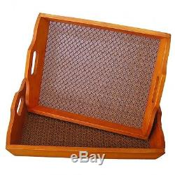 Wood Serving Tray Cedar Carrying Platter Party Two Piece Large & Medium NEW