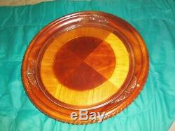 Wood Serving Tray HUGE 23 In, Round Carved Cognac Inlaid Pub Tray Table Top