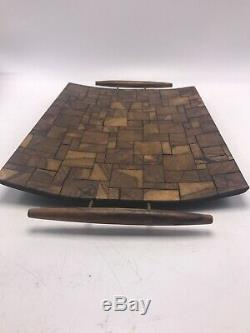 Wood Serving Tray Inlaid Mosaic Mid Century Modern 2 Handles Footed Vintage MCM