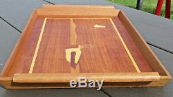 Wood Serving Tray with Inlaid Ducks & Boarder Raised Edges & Handles EUC