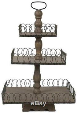Wood Tray 3-Tier Grey Wash Finish Home Decor Shel Wall Libby Grey Table Accent