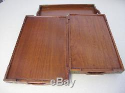 Wood Trays Stackable 3pc Chinese metal corners decoration handles vintage