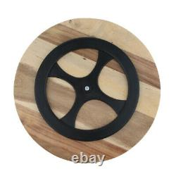 Wooden Flat Round Wood Server Cake Stand Plate Tray with Glass Dome with Lid