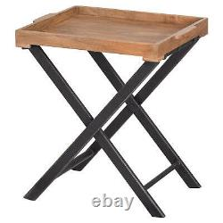 Wooden Folding Butlers Serving Table Tray Portable Sustainable Furniture 76cm