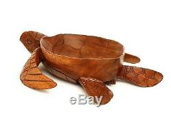 Wooden Handmade Turtle Fruit Decorative Bowl Centerpiece Tray Serving Carved Art