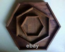 Wooden Hexagon Serving Tray Set of 3, Home Restaurant Decor