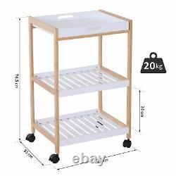 Wooden Kitchen Cart Serving Tray Storage Trolley Slatted Shelves White Oak Tone