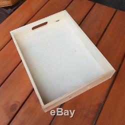 Wooden Serving Large Tray, Set from 1 to 10, 35 cm x 25 cm x 6 cm, Unpainted