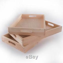 Wooden Serving Tray 38cm /Tea Breakfast Plain Wood Platter / Decoupage Art Craft