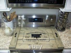 Wooden stove top cover noodle board serving tray farmhouse handmade