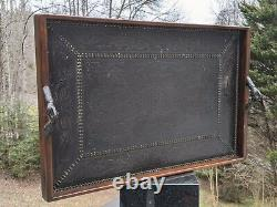 XL Mahogany Serving Tray Chased Copper Nailheads Bronze Clenched Hands Handles