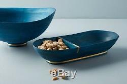 XX Hropologie Jilan Blue Mango Wood Condiment Snack Nuts Serving Bowl Dish Tray