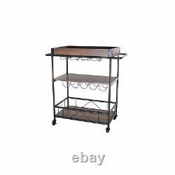 Zenvida Bar Cart Mobile Kitchen Serving Cart Tray Portable Rustic Industrial